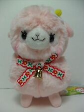 Makiba Kids Alpacasso Pink Alpaca White Red Bow & Gold Bell 16cm Plush Arpakasso