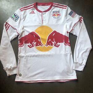 Men's Adidas 2010 New York Red Bulls MLS Home White Long Sleeve Jersey Kit Sz L