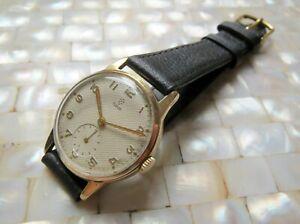 TUDOR (ROLEX) SOLID 9K GOLD 1954 HAND WIND DRESS WATCH LINEN DIAL SERVICED VGC!!
