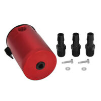 Full Aluminium Racing Baffled 3-Port Oil Catch Can Tank Air-oil Separation RED
