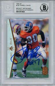 Terrell Davis Autographed 1995 Upper Deck SP #130 Rookie Card BAS Slab 32835