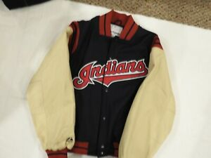Cleveland Indians NEW Wool & Leather Jacket! Size L! NEVER WORN! MAJESTIC! PHOTO