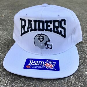 New! VTG 90's New Era NFL Snapback Hat Los Angeles Raiders White Helmet Vegas