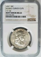 1957 Franklin Silver Half Dollar NGC MS 63 Double Curved Clips Mint Error Clip