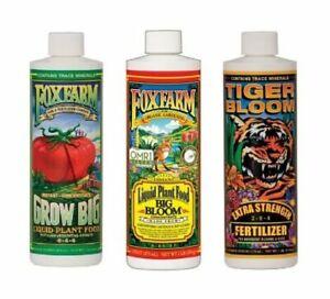 FoxFarm Soil Trio Nutrient Bundle (Big Bloom, Grow Big, Tiger Bloom) 16oz / Pint