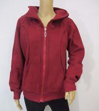 Women's Burgundy Fleece Winter Hooded Long Sleeve Warm Jacket Zip Up Hoodie Sz M