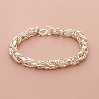 blushed sterling silver 6mm byzantine chain bracelet 6.25in