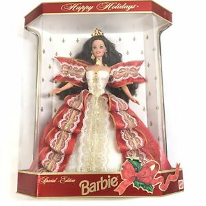 NEW Vintage 1997 Special Edition Happy Holiday Brunette Barbie #17832 N07-17