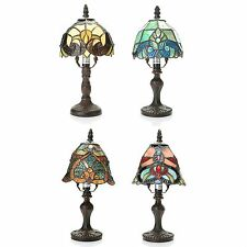 """Tiffany-Style 4-Piece 12"""" Family Favorites Stained Glass Mini Lamp Set New"""