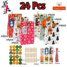 24X Pack Christmas Gift Bags Festive Tags & Sticker Presents Wrapping Packaging