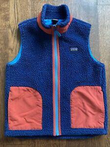 Patagonia Kids Deep Pile Sherpa Fleece Vest Medium 10 Boys Unisex Blue Red