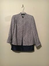 Kasper Separates 2 Piece Tweed Navy Jacket Skirt Suit Size 14W Women Formal