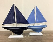 Set of 2 Small Blue Wooden & Fabric Sailboats Nautical Boat Ornament 5930