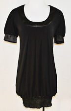 VTG CHIC Black Satin Trim Darts Balloon Club Party Mini Dress Tunic Blouse Top S