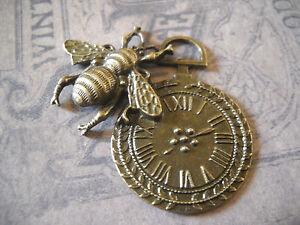 Clock Pendant Charm  Pocket Watch Steampunk Vintage Style Bee Pendant 49mm