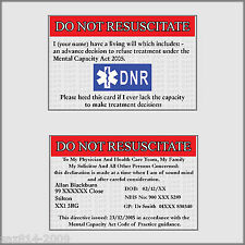 Do Not Resuscitate Card | DNR | Advanced Directive | Free P&P