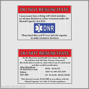 Do Not Resuscitate Card | DNR | Advanced Directive | Free P&P