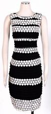 JAX Black White Sz 6 Women's Cocktail Lace Over Tiered Dress $158 New