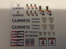 Scalextric /Slotcar Pre-Cut Decal Set A8555 Guinness, Champion, Tag Heuer SCX