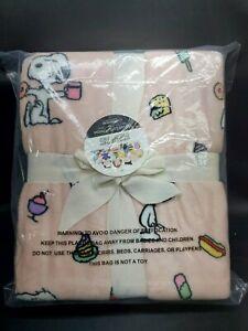 NEW Peanuts Snoopy Snacks Berkshire Pink Blanket Throw Velvet Soft Soft 55 x 70