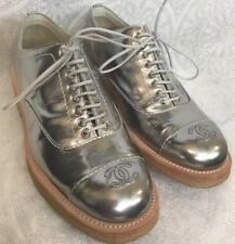 Chanel Shoe Silver Metallic lace Up Oxford CC On Toe Size 37 1/2