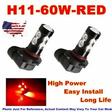 2x H11 H8 H9 Car 60W High Power Red 800LM LED Fog Lights Lamp Bulb Replacement