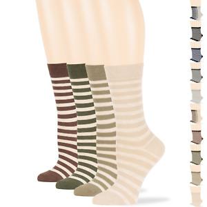 Women's Cotton 4 Pack Striped Boot Socks L-M Black-Navy-Brown-Beige-Khaki-Grey