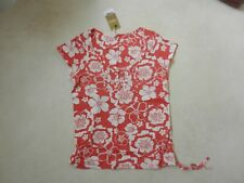 BNWT Next Ladies Pink Coral White Floral Tie Hem T-Shirt Top Size 6 Petite