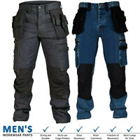 Mens Cargo Combat Work Trouser Black Blue Outdoor Cordura Denim Jeans Size 30-40