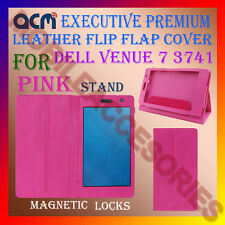 ACM-EXECUTIVE LEATHER FLIP CASE for DELL VENUE 7 3741 TAB COVER STAND NEW - PINK
