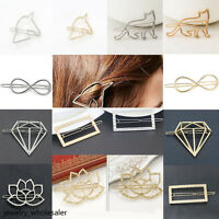 1Pcs Women Gold Silver Geometry Hairpin Girls Hair Clip Hair Jewellery Access