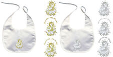 Baby Kid Christening Baptism White Bibs Gold Silver Embroidery Virgin Mary Pope