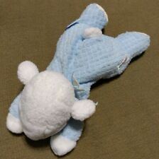 EDEN plush white blue thermal terry cloth lamb plaid bow lying laying down baby