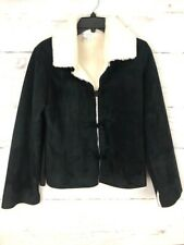 White House Black Market Sz S Black Faux Suede Shearling Fur Lined Jacket