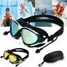 Mirror Swimming Goggles Anti-Fog Swim Glasses UV Protection with Ear Plug Adult
