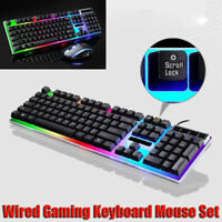G21 LED Rainbow Color Backlight USB Ergonomic Wired Gaming Keyboard Mouse Set Z