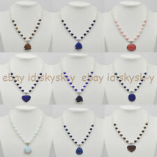 8mm White Shell Pearl Mixed Gemstone Beads & Multi-style Pendant Necklace 18''