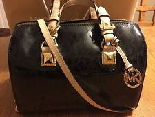 MICHAEL KORS BLACK PATENT LEATHER MD GRAYSON SATCHEL HANDBAG NWT $328