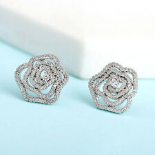 18k White Gold Flower Crystal Cz Earrings Stud Made With Swarovski Elements