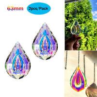Set 2pcs Crystal Prism Window Hanging Glass Sun Catcher 63mm AB Chandelier Parts