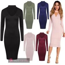Long Sleeve Stretch Midi Dresses for Women