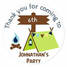 24 Personalised Den Building Camping Birthday Party Favour Stickers