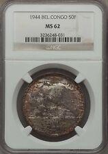 1944 Belgian Congo 50 Francs, NGC MS 62