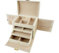 Large Three Drawer Lockable Fully Lined Jewellery Box - Cream