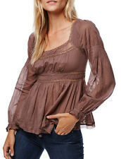 Free People Strangers In Love Blouse In Taupe 100% Cotton Size S Retail $108