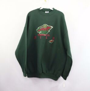 NOS Vintage Logo Athletic Mens XL Minnesota Wild NHL Hockey Spell Out Sweatshirt