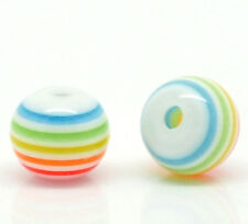 100 BEAUTIFUL RAINBOW STRIPED COLOURED 6MM BEADS -  FAST FREE SHIPPING