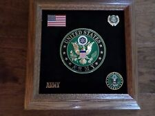U.S MILITARY ARMY MEDALLION WITH PINS PRESENTATION SHADOW BOX SOLID OAK FRAME