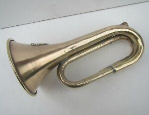 Old WW1 Brass Bugle with Turkish Ottoman 1916 Badge