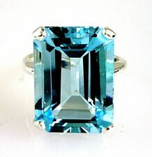 Beautiful Natural Large Emerald Cut Blue Topaz Ring 925 Sterling Silver 18.21CTS